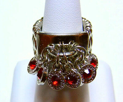 Ladies Ring Red Dangling Silver Adjustable Stretch Fashion Jewelry Gift Box
