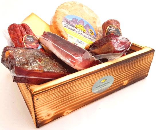 Präsentkorb -  7 x Genuß - Südtirol/Italien in der geflammten Holzbox - Speck&Co
