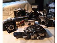 Vintage Cameras: C.B. Kershaw ,Minolta, Halina, Zenit-E, Kodak & Quarz Cine Camera.