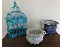 Decorative pots (2) and Birdcage for houseplants includes Wm Morris Strawberry Thief' design £35