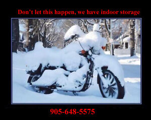 Store your motorcycle away from the harsh winter ahead.