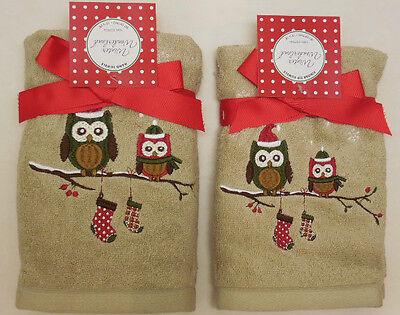 (Christmas Owls Bathroom Towel Gift Sets Beige & Brown~Hand Or Fingertip~Set of 2)