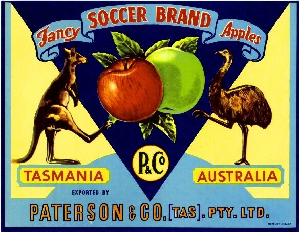 Tasmania Australia Soccer Kangaroo Emu Apple Fruit Crate Label Art Print