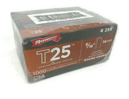 Arrow T25 259 9/16 Round Crown Steel Staples 5 Packs 1000 per Pack 5000 Total