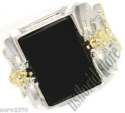 Mens Genuine Black Onyx Snake Two Tone Plated Ring Size 9