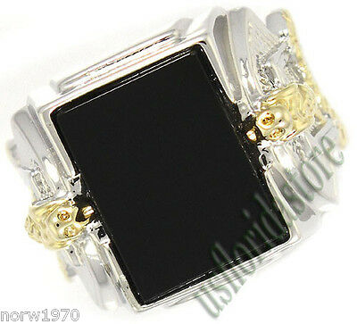 Mens Genuine Black Onyx Snake Two Tone Plated Ring Size 8