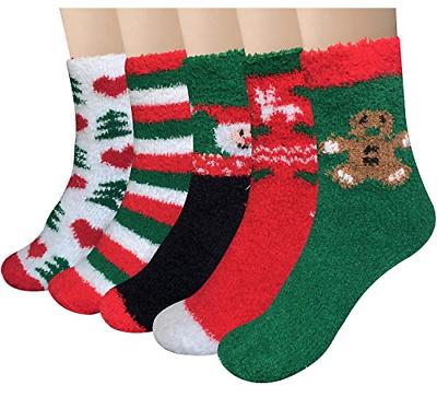 Loritta 5 Pairs Womens Fuzzy Christmas Socks Warm Soft Cozy