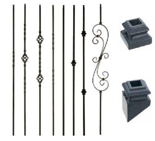 Satin Black Iron Balusters Iron Spndles Metal Stair Parts twist basket knuckle