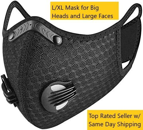 L/xl Cycling Sport Face Mask W/ Active Carbon Filter Breathing Valves Washable