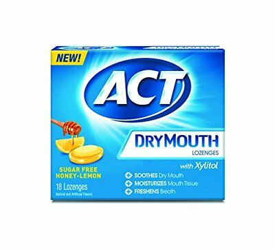 2 Pack Act Dry Mouth Lozenges  Sugar Free  Honey Lemon  18 Count Each  36 Total