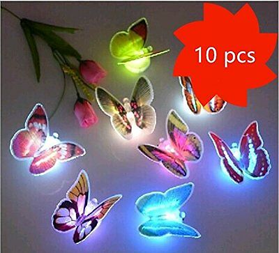 20 PCS LED Flashing 3D Butterfly Wall Decor Night Light Lamp Kids Bedroom Decor