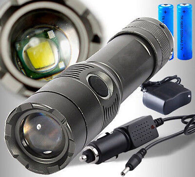 5000LM LED Rechargeable Zoom Flashlight Torch + 18650 Battery + Charger