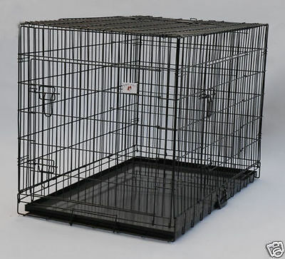 "Extra Large 48"" Folding Pet Dog Cage Crate Kennel With Plastic Pan Black-149"