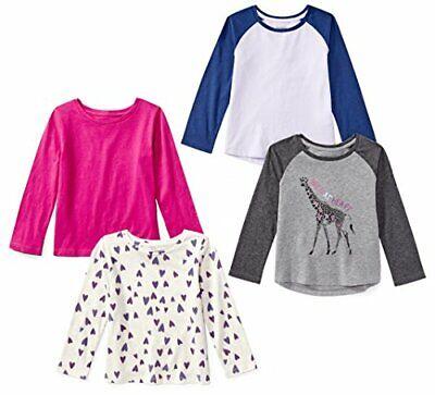 Spotted Zebra Girls' Little 4-Pack Long-Sleeve T-Shirts, Ani