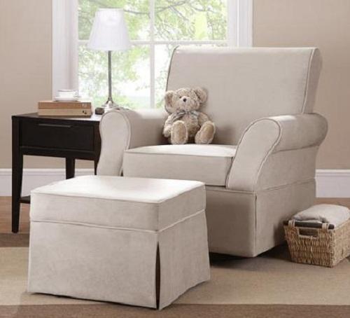 Swivel Glider Chair AND OTTOMAN in Beige Microfiber Nursery Baby Furniture NEW