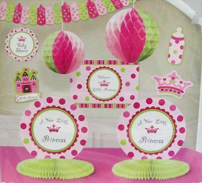 NEW LITTLE PRINCESS DECORATING KIT (10pc) ~ Baby Shower Party Supplies Pink Girl - Baby Princess Party Supplies