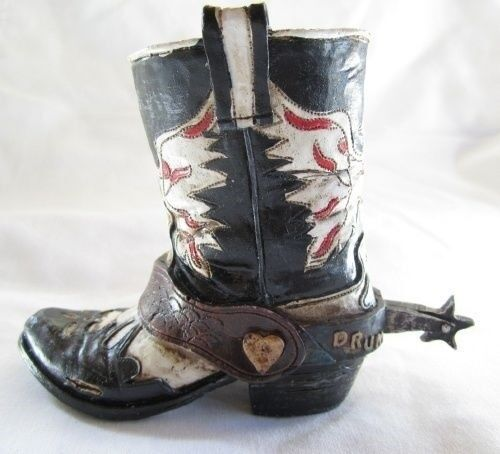 Western Small Ceramic Cowboy Boot Pencil Holder Collectible New (4203C)