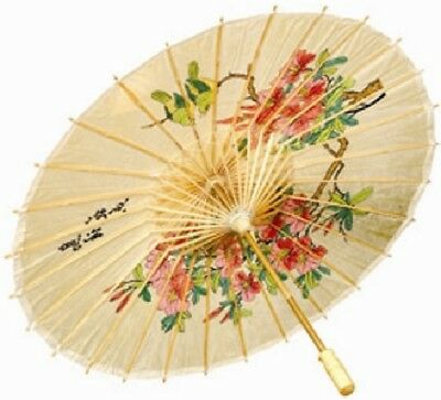 Ladies Flower Printed Geisha Oriental Chinese Umbrella Fancy Dress Costume Prop