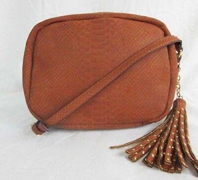 DEUX LUX JUNIPER Snake Print Cognac Leather Camera Crossbody Bag Msrp $90.00 Lux Snake