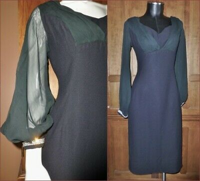 - Vtg 60s Sheer Silk Chiffon Poet Slv Rhinestone Cocktail Party Wiggle Black DRESS