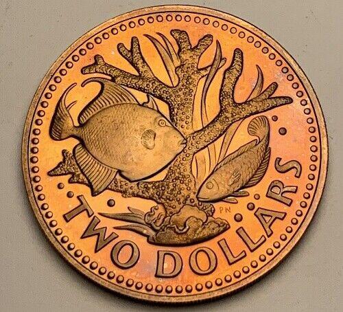 1977 BARBADOS TWO DOLLARS BU UNC COLOR TONED COIN