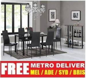 MODERN CASEY GLASS DINING TABLE WITH 6 WHITE PU LEATHER CHAIRS SE Albert Park Port Phillip Preview