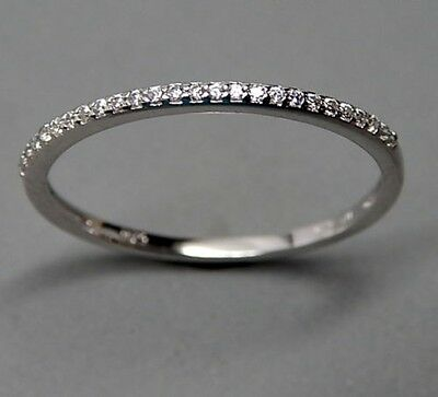 STYLISH STERLING SILVER WHITE AAA CZ CUBIC ZIRCONIA THIN WEDDING BAND STACK (Stylish Cubic Zirconia Ring)