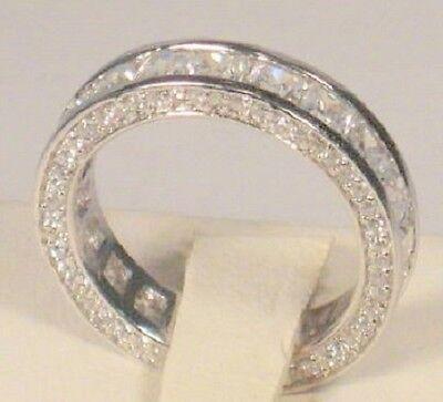 Princess Cut Pave Set - 2.50 Ct Princess cut Channel set Diamond Pave Eternity Band Wedding Ring