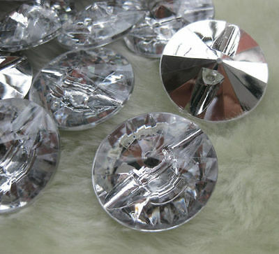 5 Stück GROSSE  ♥♥ silber GLITZER Knopf / Knöpfe ♥♥ 3 cm / 30 mm