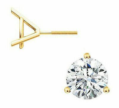 1 carat Round Diamond Stud 18k Yellow Gold Earring E Internally Flawless GIA 7