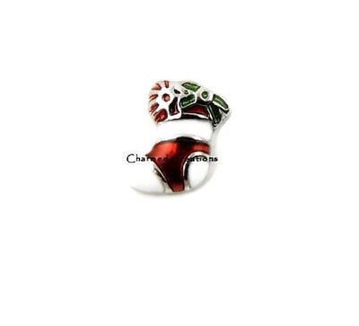 Red And White Christmas Stocking Holiday Decoration Charm For Floating Lockets - Red And White Christmas Stocking