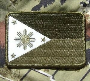 Philippines Flag Olive Green Velcro Patch - Airsoft Paintball