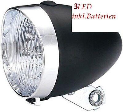 Nostalgie Scheinwerfer Fahrrad Licht 3 LED schwarz Lampe Hollandrad Retro #27096