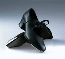 ROCH VALLEY LADIES BLACK CUBAN HEEL TAP SHOES - SIZE 5 - BRAND NEW IN BOX