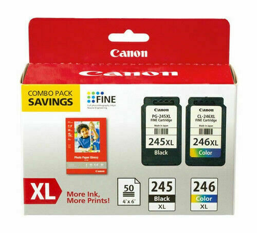 Canon PG-245XL/CL-246XL HY Black and Color Ink Cartridges + photo paper,8278B005