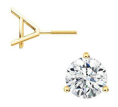 0.90 carat Round cut Diamond Studs 14K Yellow Gold Screw Back Earrings H SI1 GIA 8