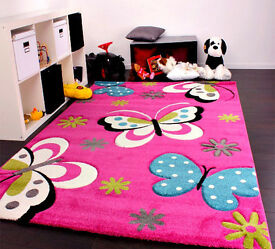 Kids Rug Pink Butterfly Design Girls Cute Soft Children Bedroom Quality Carpet