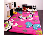 Kids Rug Pink Butterfly Design Girls Cute Soft Children Bedroom Quality Carpet