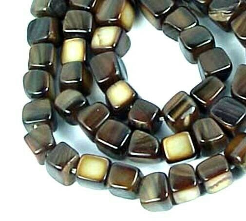 """5-6mm Bronze Mother Of Pearl Brown Coffee irregular Cube nugget Beads 16"""""""