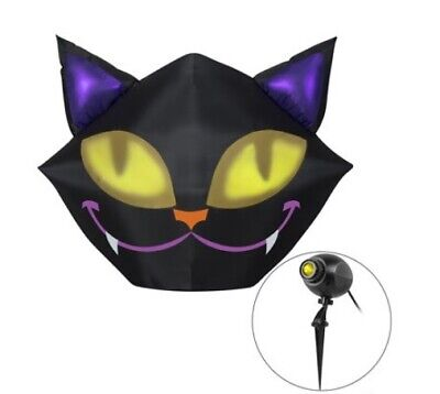 Halloween Inflatables Cat (Gemmy Industries Yard Inflatables Smiling Cat with Eyes, 5 ft w/)