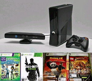 XBOX 360 Slim 4gb with Kinect, 1 controller and a few games