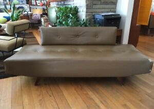 Vintage mid century Vinyl Couch with removable back
