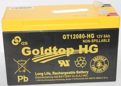 Goldtop #GT12080-HG 12V8AH Long Life Rechargeable Battery