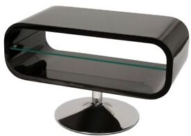 TECHLINK modern Opod Piano RRP £249 Black and Clear Glass Tv Media Stand
