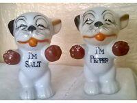 UNUSUAL SALT & PEPPER POTS, CUTE LITTLE DOGS, MADE IN JAPAN
