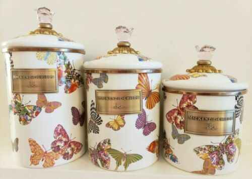 mackenzie childs white canister with butterflys - Small. Sold out.