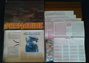 Vintage 1977 Avalon Hill SUBMARINE Strategy Board Game #707