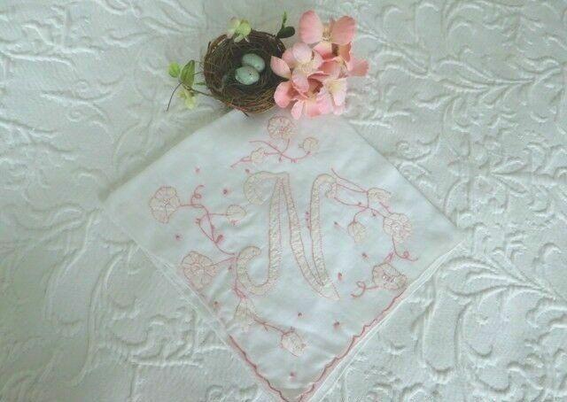 Pink Embroidery ANTIQUE MONOGRAM N Applique VINTAGE ROMANCE BRIDAL Wedding HANKY