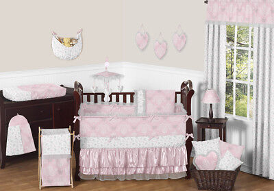 Boutique Pink Grey and White Elegant Cute Baby Girl Crib Bed
