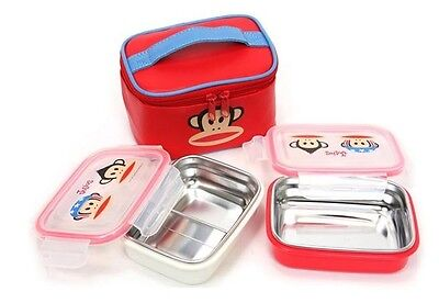 Bento Lunch Box Paul Frank Stainless Steel for Kids Bag Set School Days Foods